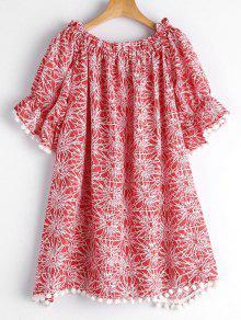 Poms Printed Off Shoulder Trapeze Dress - Red S