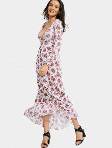 Floral Print Plunging Neck Maxi Dress - Floral S