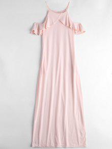 Ruffle Cold Shoulder Cami Maxi Dress - Light Pink S