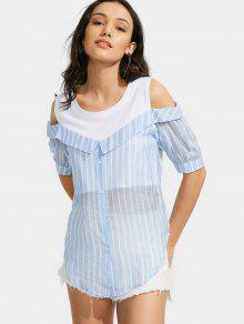 Button Up Cold Shoulder Striped Blouse - Light Blue