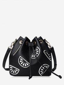Colour Block Drawstring Bucket Bag - Black