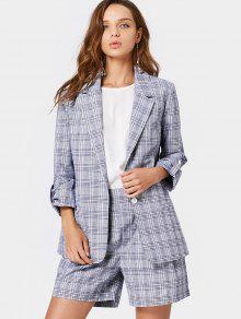 Buttoned Checked Blazer And High Waisted Shorts - Checked S