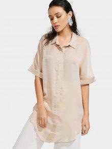 Button Up Plain Longline Shirt - Apricot S