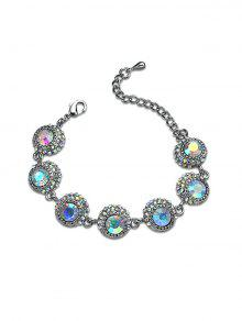 Sparkly Rhinestoned Statement Chain Bracelet - Silver