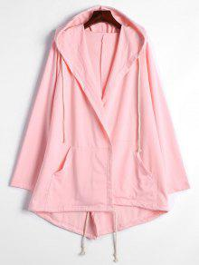 Drawstring Hooded Coat With Pockets - Pink S