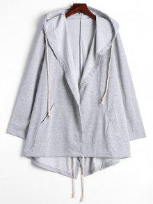 Drawstring Hooded Coat With Pockets - Gray S
