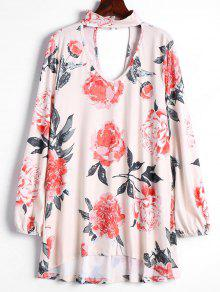 Keyhole Neck Cut Out Flower Tee - Apricot S