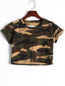 Corte La Camiseta Del Cultivo Del Camuflaje - Camuflaje L