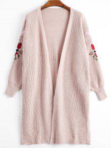 Lantern Sleeve Floral Embroidered Slit Cardigan - Pink