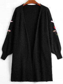 Lantern Sleeve Floral Embroidered Slit Cardigan - Black