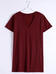 Keyhole Neck Shift Mini Dress - Deep Red S