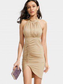 Backless Ruched Slit Bodycon Club Dress - Khaki S