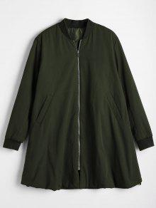 Longline Zip Up Padded Coat - Army Green