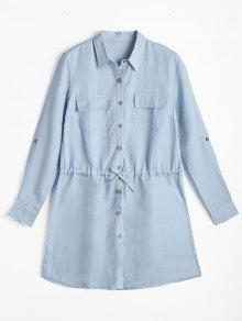 Long Sleeve Button Down Mini Shirt Dress - Light Blue L