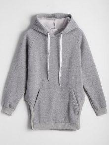 Buy Side Slit Oversized Hoodie Front Pocket - GRAY ONE SIZE
