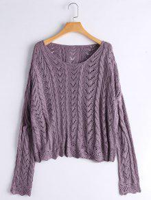 Scalloped Sheer Oversized Sweater - Purple