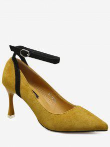 Pointed Toe Ankle Strap Pumps - Ginger 37