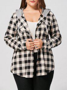 زائد حجم جيوب رفرف منقوشة قميص هوديي - 5xl