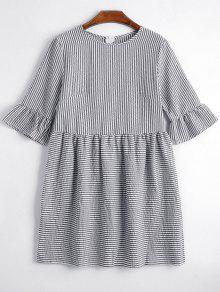 Round Collar Striped Dress - Black S