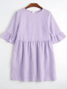 Round Collar Striped Dress - Purple S