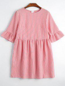 Round Collar Striped Dress - Red Xl