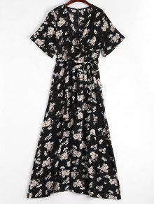 Plunging Neck High Slit Floral Belted Dress - Floral L