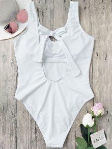 Back Tied High Cut One Piece Swimwear - White L