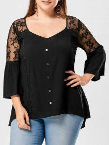 Plus Size Sheer Yoke Flare Sleeve Blouse - Preto 5xl