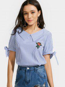 Rose Top Applique à Rayures - Bleu M