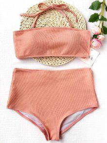 fe7ee4c3c7dcc 14% OFF  2019 Ribbed Texture Bandeau High Waisted Bikini In SHALLOW ...