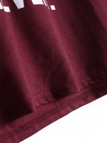 Rojo Letter Hoodie Oscuro Sleeve Raglan S Drawstring w0BInp
