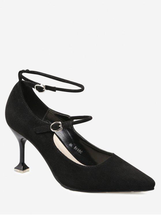 حذاء بحزامين ذو تصميم غريب - أسود 39