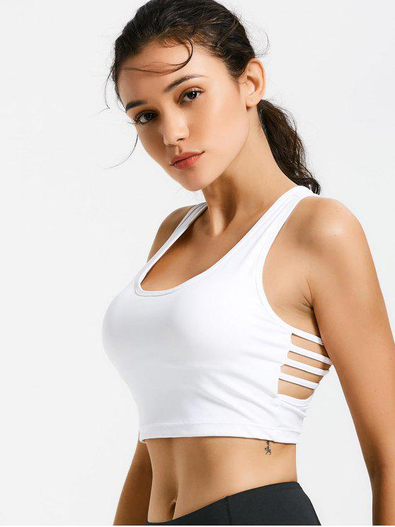 women Ladder Cut Padded Cropped Gym Top - WHITE M