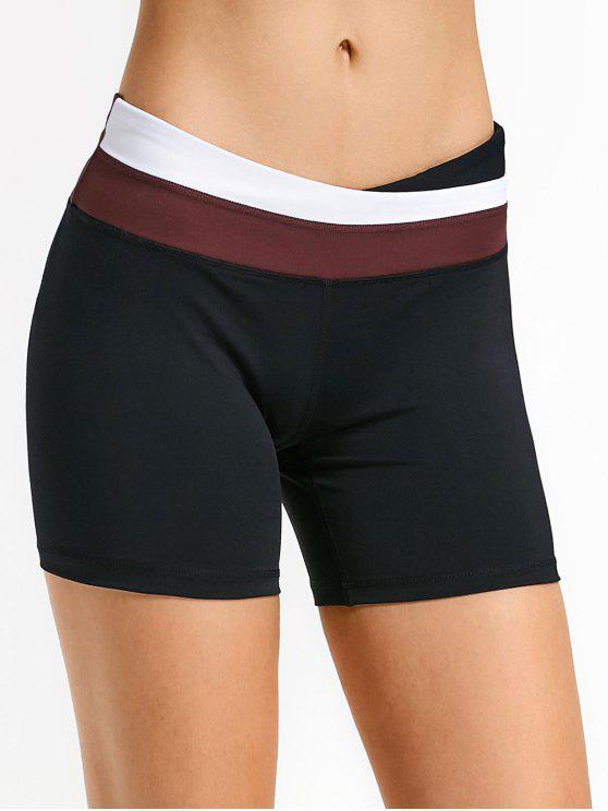 chic Asymmetric Waist Color Block Shorts - RED M