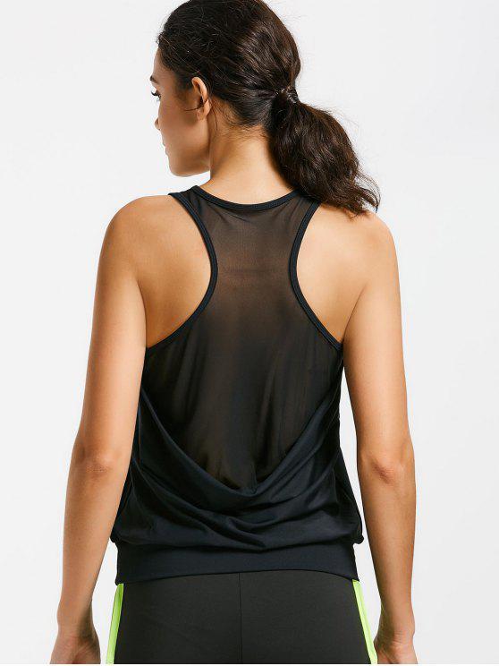 fashion Racerback Mesh Draped Sports Top - BLACK XL