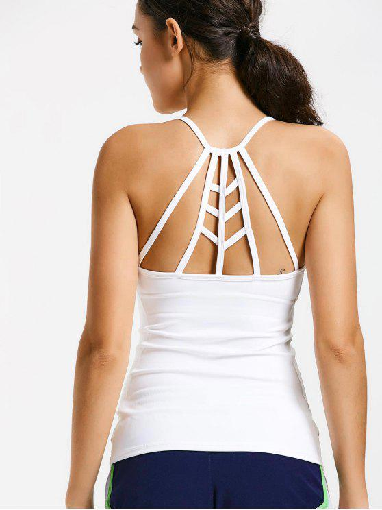 chic Back Strappy Padded Gym Top - WHITE M
