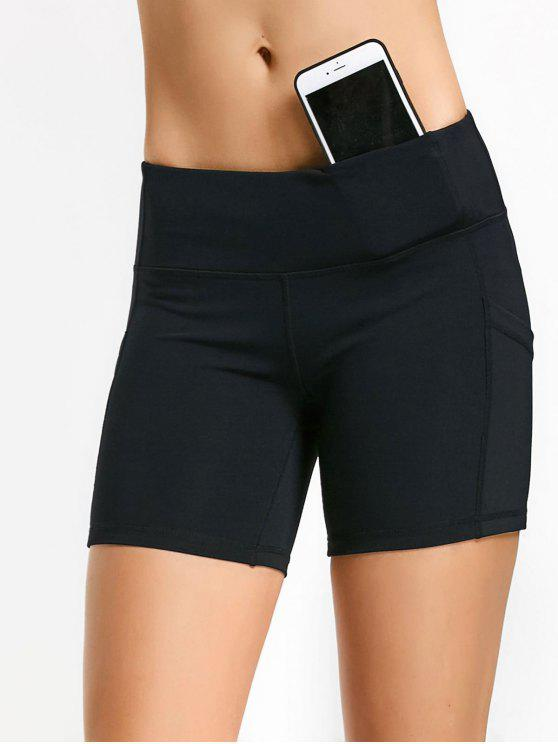womens Active Pockets Workout Shorts - BLACK L