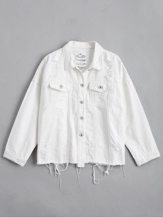 fancy Button Up Distressed Letter Denim Jacket - WHITE ONE SIZE