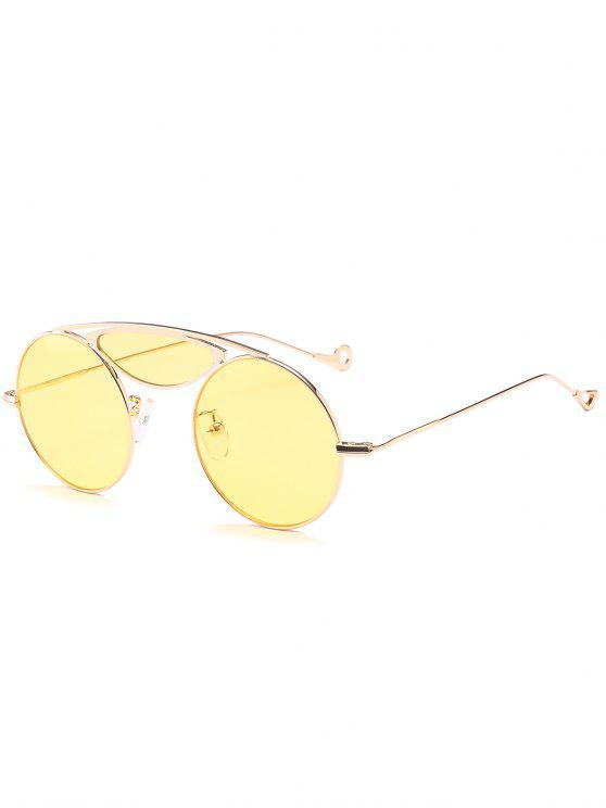 Sturz Metall Querlatte Runde Sonnenbrille - Gelb