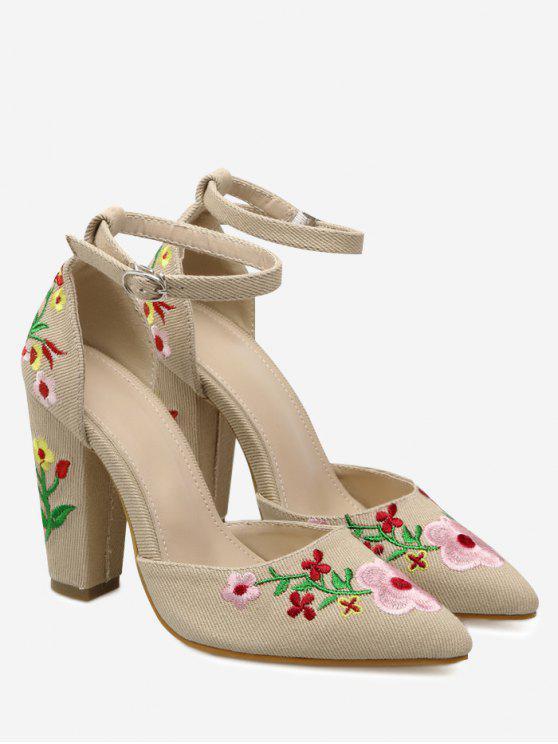 Chaussures Brodées à Bride Cheville et Talon Carré - Abricot 38
