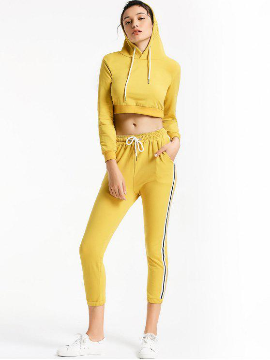 outfits Sporty Drawstring Hoodie with Pants - YELLOW S