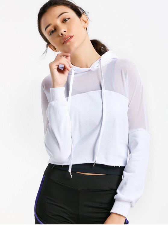 Sudadera con capucha recortada - Blanco S