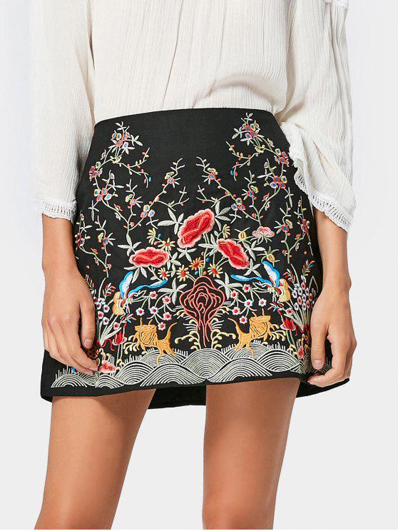 latest Back Zip Floral Embroidered Mini Skirt - BLACK M