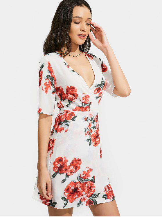 Plunging cuello vestido de impresión floral vestido - Floral XL