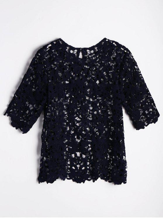 Unfinished Hem Recortado blusa de encaje - Azul Purpúreo M