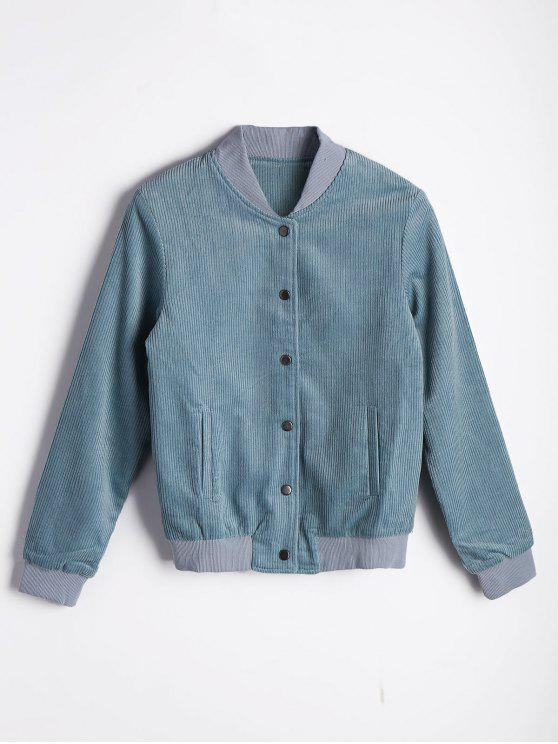 Botón hasta la chaqueta plisada bombardero - Azul Claro L