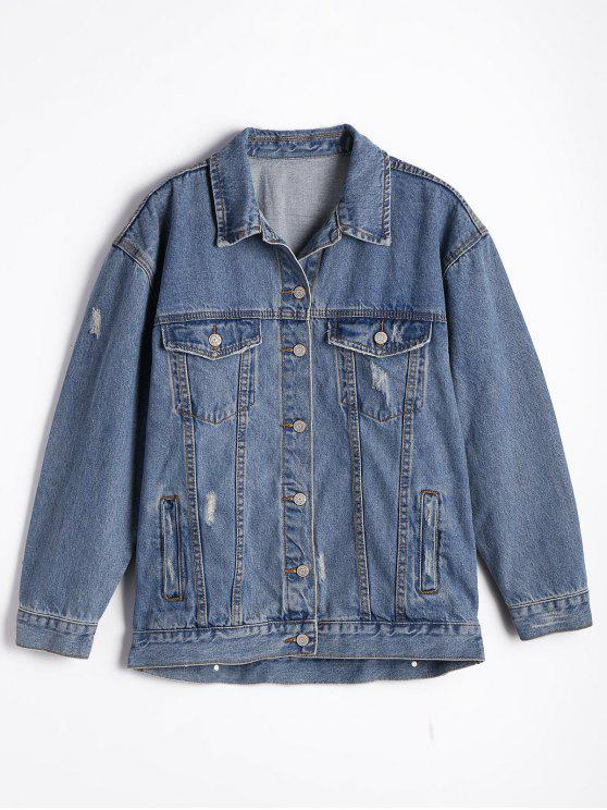 trendy Button Up Ripped Denim Jacket - DENIM BLUE L