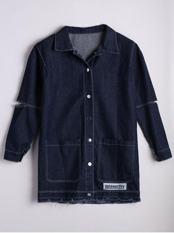 Patched Button Down Denim Coat with Pockets - Jeans Azul Tamanho único