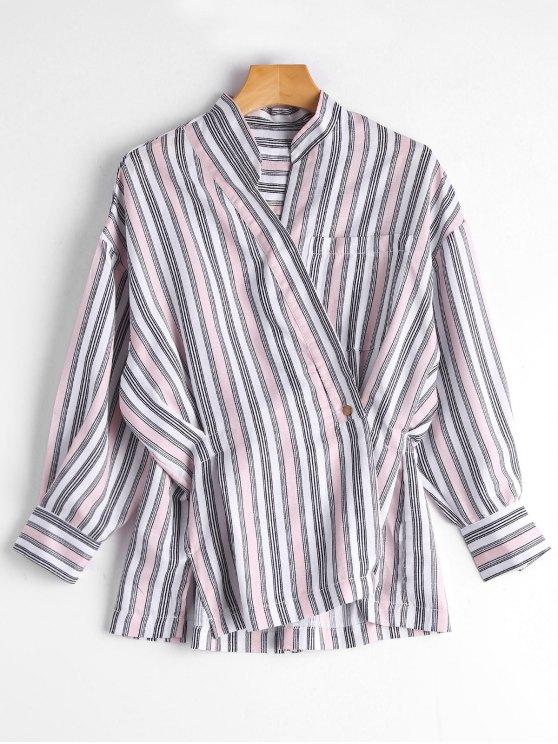 Blusa de botón rayado asimétrico - Rosa Única Talla
