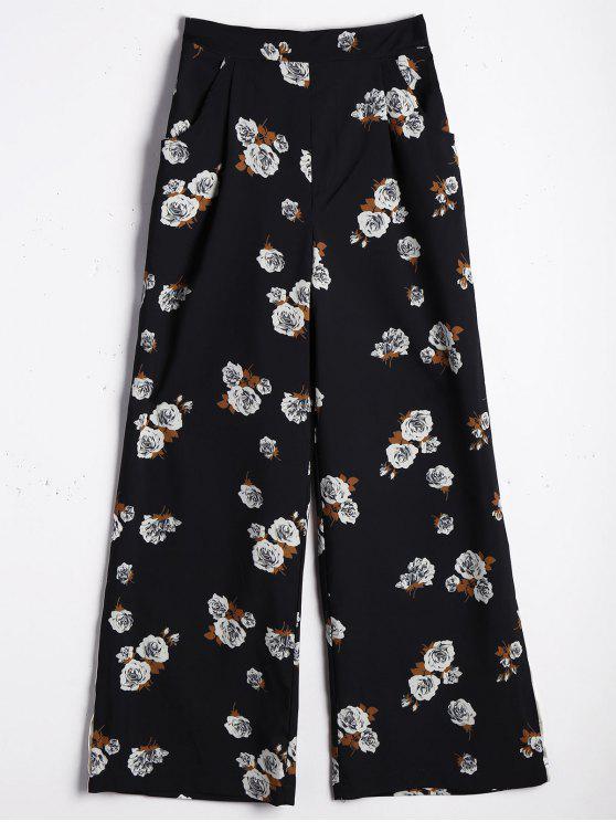 Calças de pé de largura larga e alta de cintura - Floral L